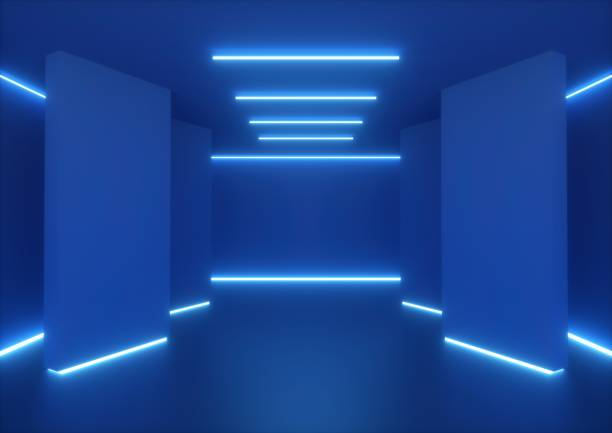 3d rendering, empty room, tunnel walls, blue neon light, abstract ultraviolet background, glowing lines, fashion stage, vibrant colors, corridor, night club interior - led painel imagens e fotografias de stock