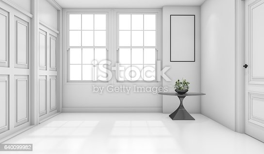 istock 3d rendering empty white classic bathroom with mock up 640099982