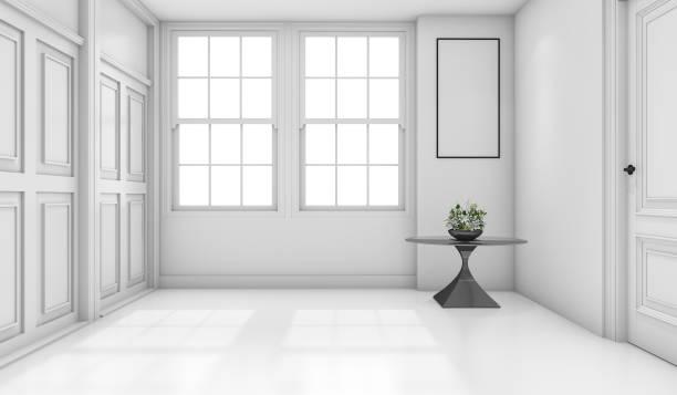 3d rendering empty white classic bathroom with mock up - schöne bilderrahmen stock-fotos und bilder