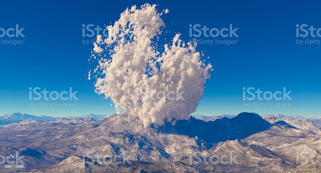 3d rendering eruption volcano stock photo