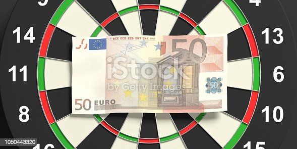 istock 3d rendering euros on dartboard 1050443320