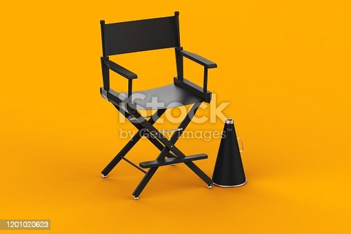 3d Rendering Film Industry Concept on yellow background