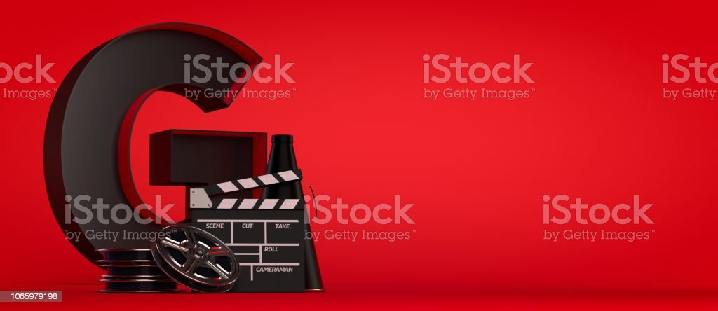 3d Rendering Film Industry Concept red background stock photo