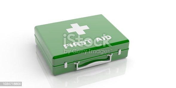 istock 3d rendering first aid kit on white background 1034718800