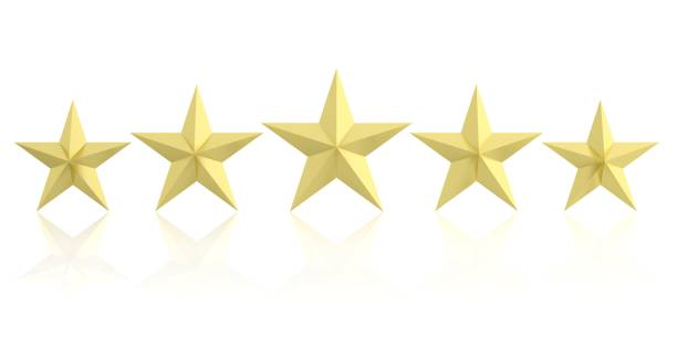 3d rendering five golden stars stock photo