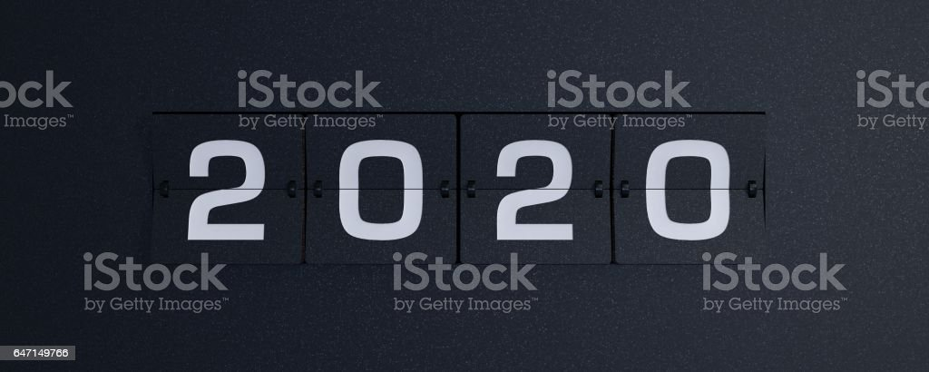 3d rendering flip board year 2020 stock photo