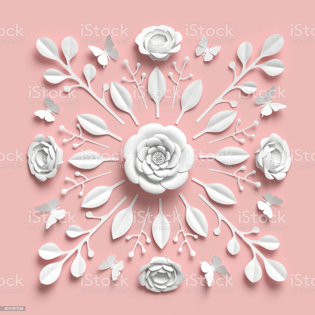 3d Rendering Floral Kaleidoscope White Paper Flowers Symmetrical