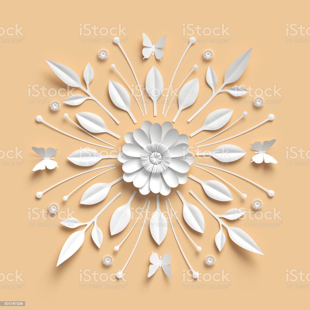 3d Rendering Floral Kaleidoscope White Paper Flowers Symmetrical ...