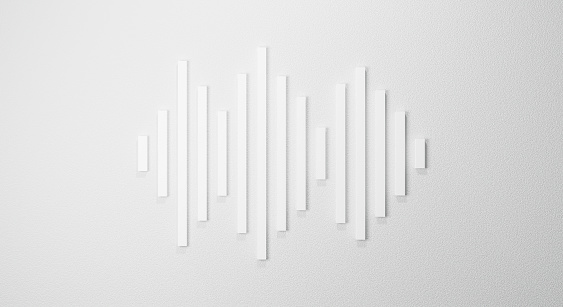 3d rendering for waveform. Sound wave background abstract. Equalizer music line isolated on white background. Futuristic technology concept and minimal geometric shapes. Graphic design.