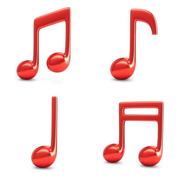 3d que rende quatro notas vermelhas da música isoladas no fundo branco - desenhos de notas musicais - fotografias e filmes do acervo