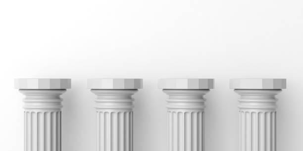 3d rendu quatre blanc piliers de marbre - colonne architecturale photos et images de collection