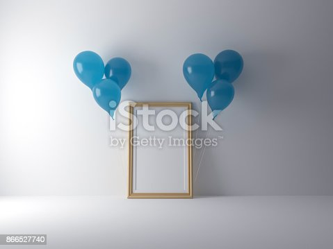 istock 3d rendering frame poster mock-up with blue balloon isolated white background 866527740