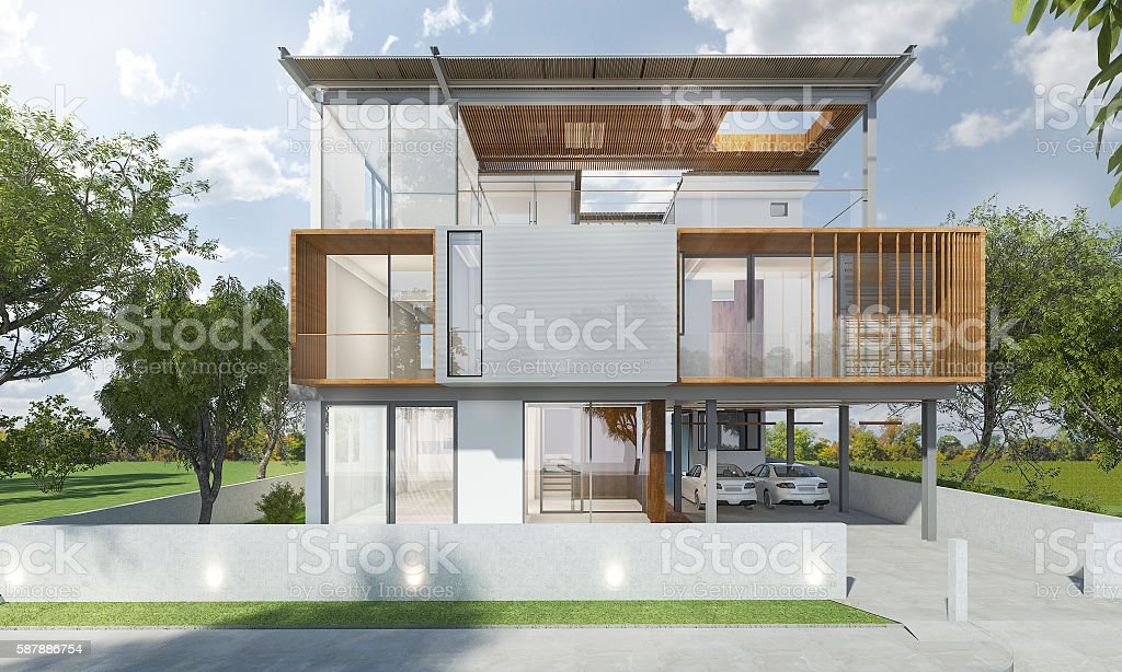 3d Rendering Front Of Modern House With Good Design Stock Photo