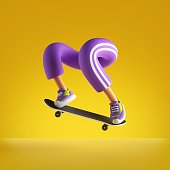 3d rendering, funny cartoon character legs and skateboard isolated on yellow background, extreme freestyle skateboarding trick, active lifestyle sportive illustration