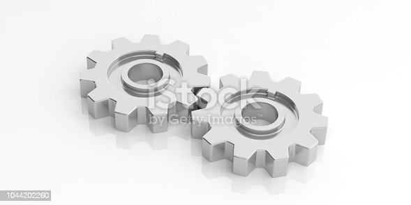 istock 3d rendering gears on white background 1044202260