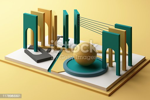 istock 3d rendering geometric composition in yellow and green tone color. 1178983301