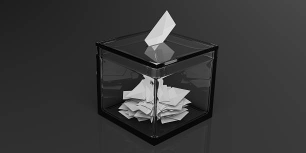 3d rendering glass ballot box stock photo