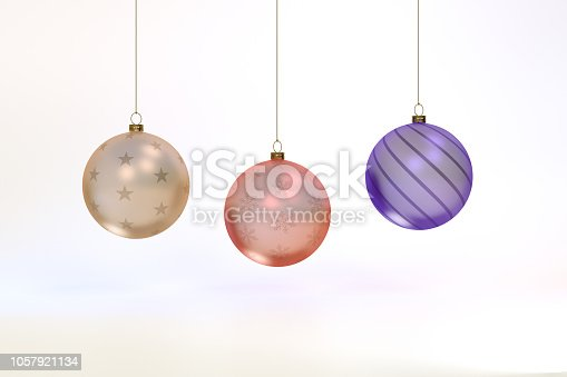 istock 3d rendering Glass Christmas balls background 1057921134