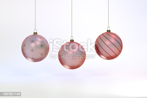 istock 3d rendering Glass Christmas balls background 1057921140
