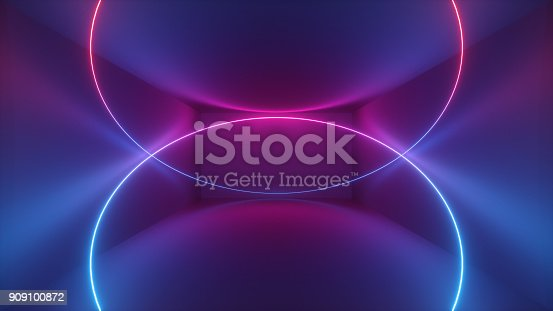 istock 3d rendering, glowing curvy lines, neon circle, lights, abstract psychedelic background, product showcase template, ultraviolet vibrant colors 909100872