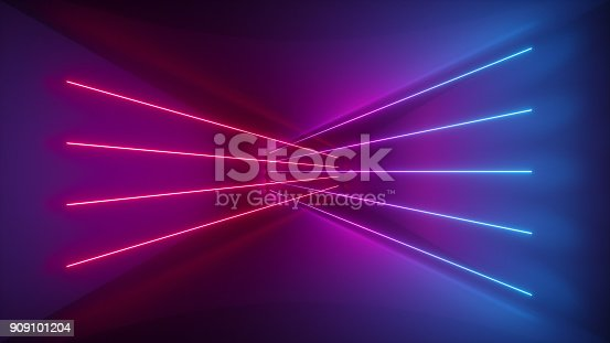 istock 3d rendering, glowing lines, neon lights, abstract psychedelic background, ultraviolet, pink blue vibrant colors 909101204
