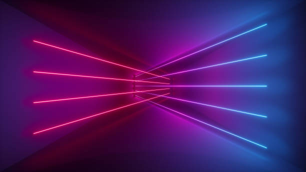 3d rendering, glowing lines, neon lights, abstract psychedelic background, ultraviolet, pink blue vibrant colors - geometry stock photos and pictures