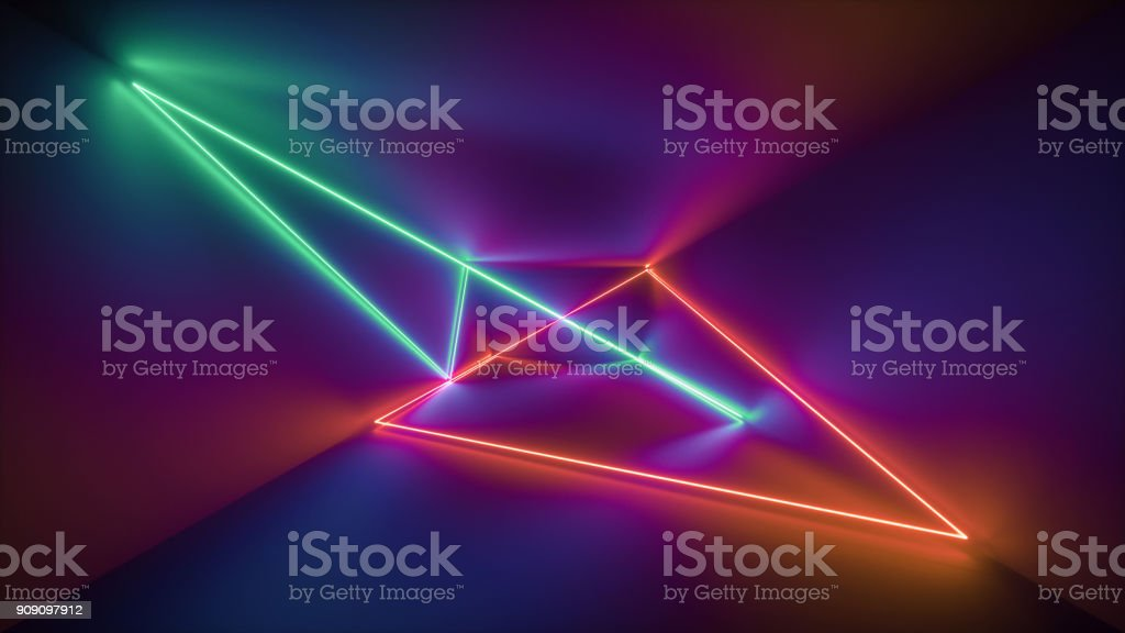 3d rendering, glowing lines, neon lights, abstract psychedelic background, ultraviolet, rainbow vibrant colors, laser show stock photo