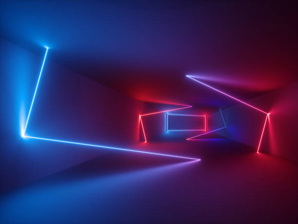 3d rendering, glowing lines, neon lights, abstract psychedelic background, ultraviolet, vibrant colors stock photo