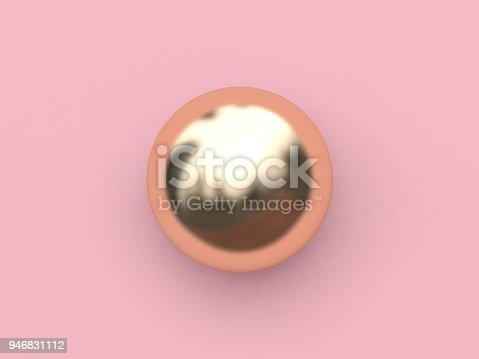 istock 3d rendering gold sphere-round abstract minimal pink background-scene metallic reflection 946831112