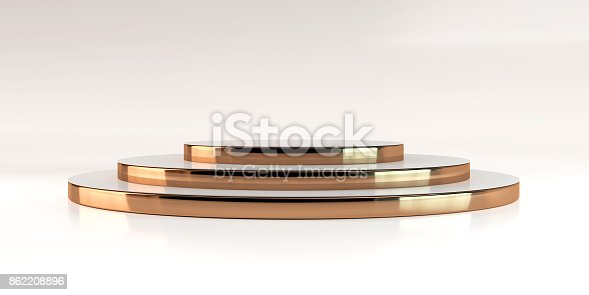 3d rendering gold stairs podium background mock-up