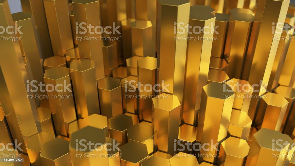 3d rendering golden and silver coins and hexagons stock photo