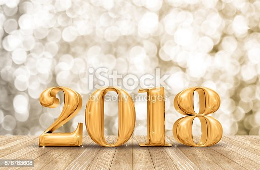istock 2018 3d rendering golden new year number in perspective room with sparkling bokeh wall and wooden plank floor,leave space for adding your content 876783608