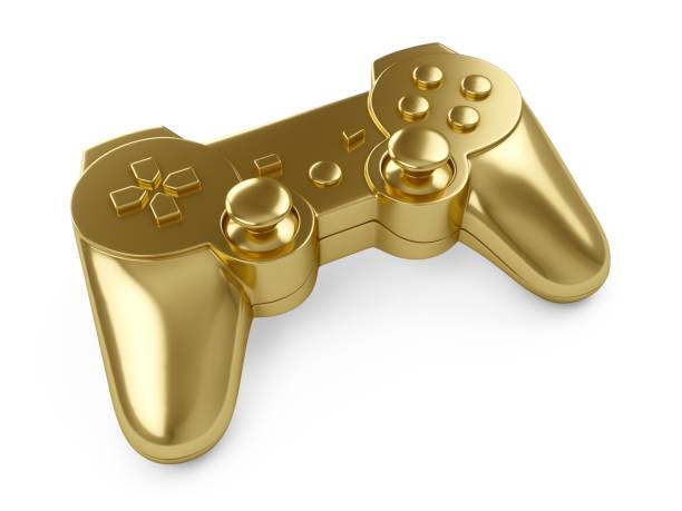 3d rendering Golden video game controller on white background 3d rendering Golden video game controller on white background. gamepad stock pictures, royalty-free photos & images