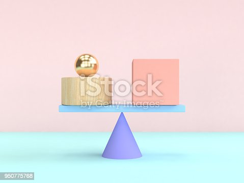 950775710 istock photo 3d rendering gravity concept abstract geometric shape pastel colorful 950775768