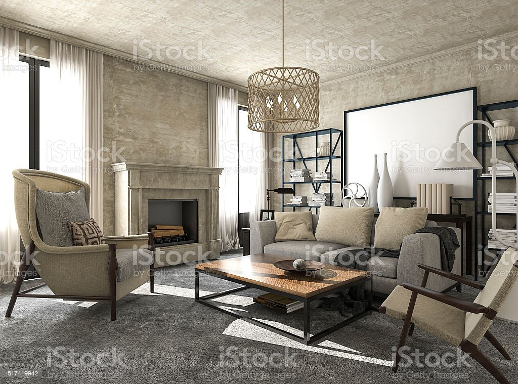 3d rendering great and beautiful classic style living room stock photo