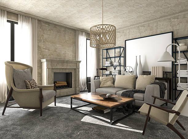 3d rendering great and beautiful classic style living room - beautiful floor bildbanksfoton och bilder