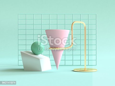 istock 3d rendering green background geometric shape abstract still life scene pink green gold 942141974