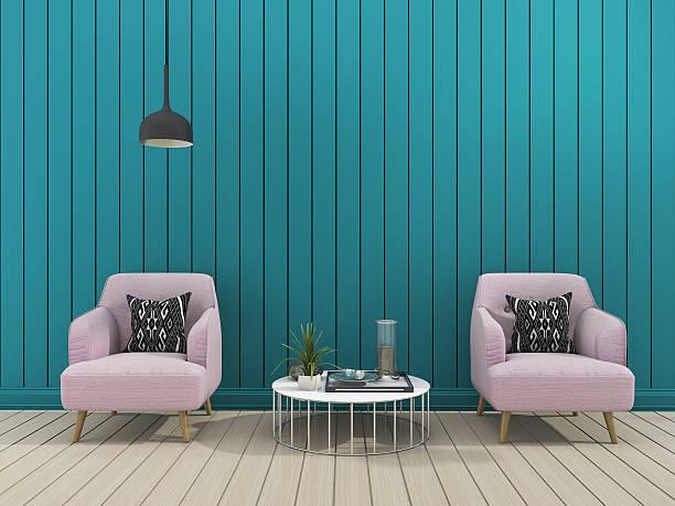 3d rendering green modern wall living room with soft armchair - hellrosa zimmer stock-fotos und bilder