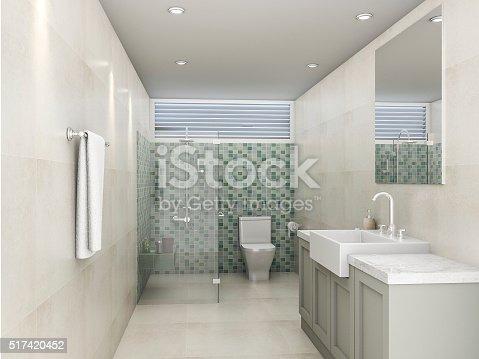 istock 3d rendering green mosaic bathroom 517420452