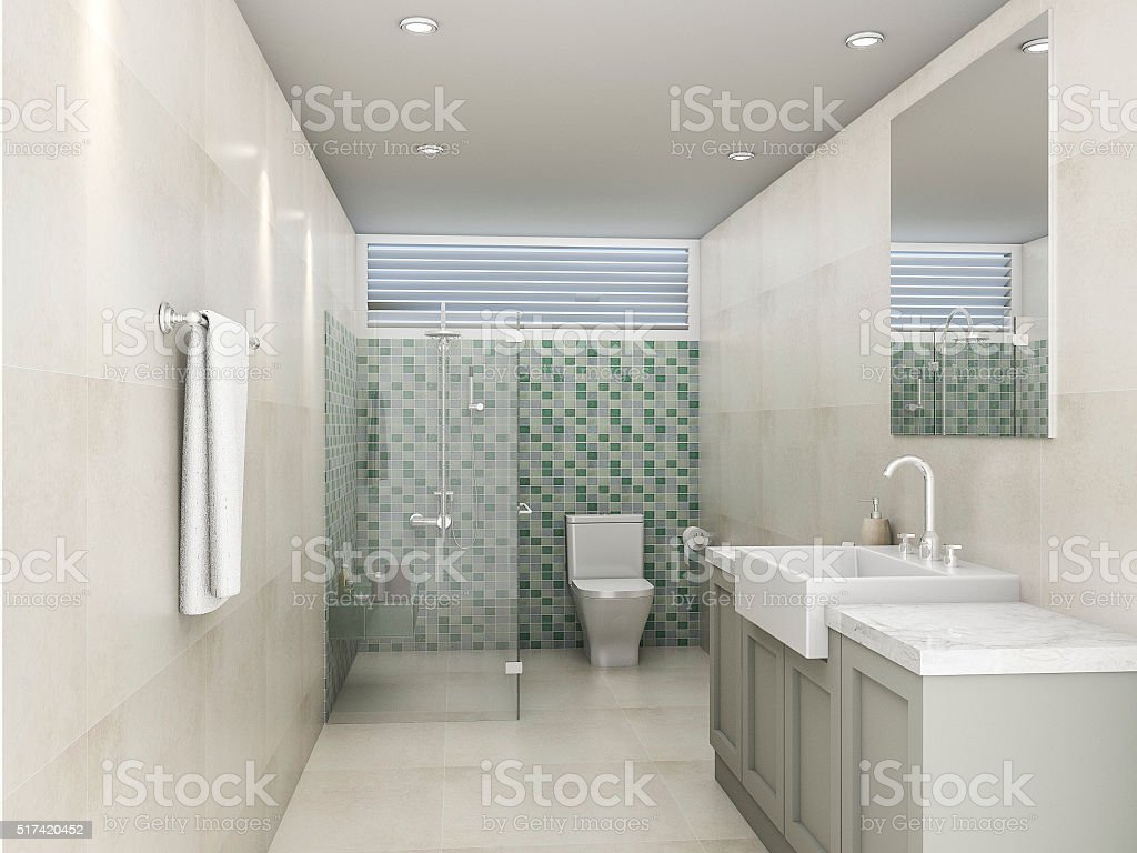 3d rendering green mosaic bathroom stock photo