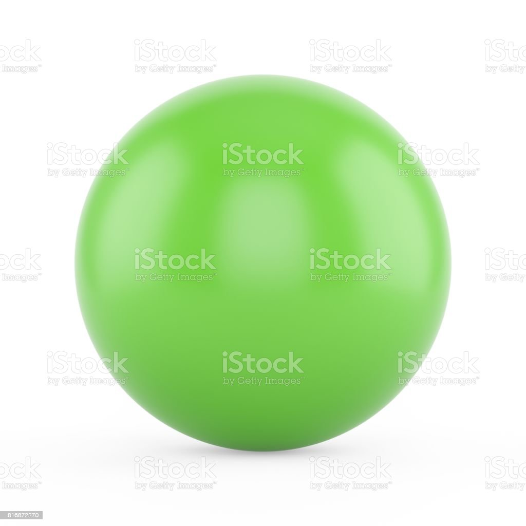 3d rendering green sphere on white background stock photo