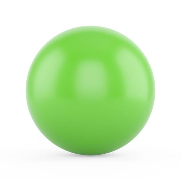 3d rendering green sphere on white background - sphere stock pictures, royalty-free photos & images