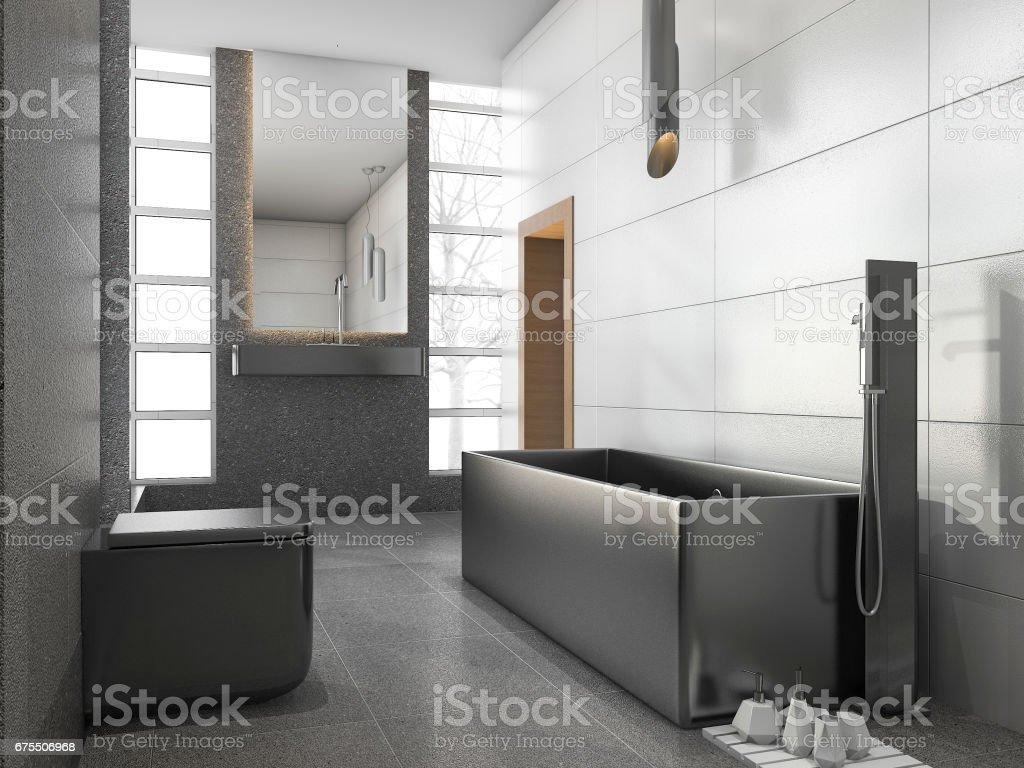 3D rendu gris acier inoxydable métal salle de bains avec carrelage blanc et Pierre carreau photo libre de droits