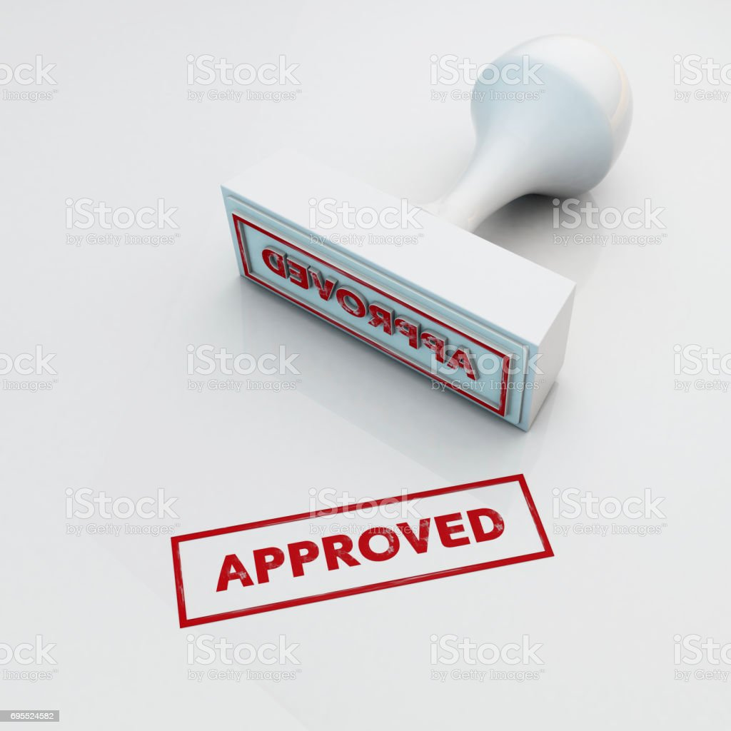 3d rendering grunge stamp APPROVED Seal and imprint  isolated  on white background stock photo