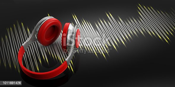 3d rendering headphones and music wave on black background