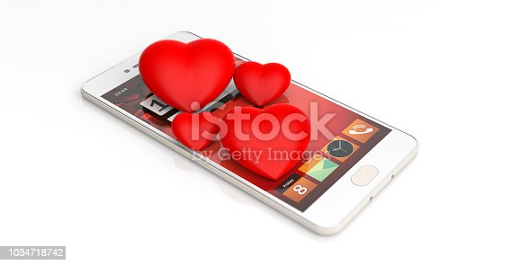 3d rendering red hearts and smartphone on white background