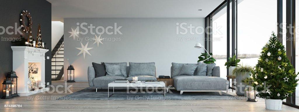 3drendering Haus Mit Kamin In Modernen Wohnung