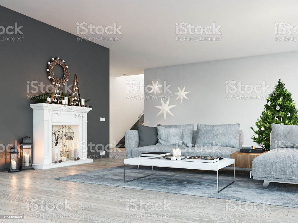 3d Rendering Home With Fireplace In Modern Apartment Christmas Decoration Stock Photo Download Image Now Istock