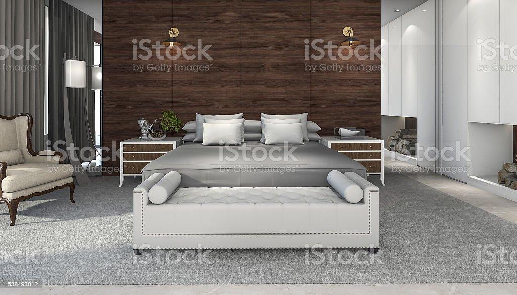 Merveilleux Rendu 3D Vue Horizontale Chambre Avec Un Mobilier Agréable Photo Libre De  Droits