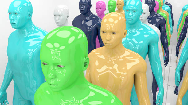 3d rendering. Human humanoid clones of different colors stock photo